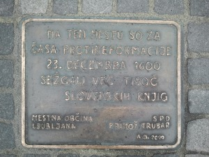 This hard-to-find plaque commemorates the burning of the books in the year 1600.